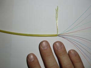 Exempel på fiberkabel med tolv fiberledare
