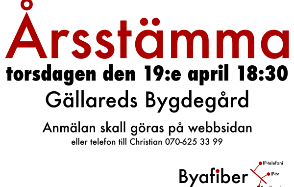 Byafiber - Årsstämma torsdagen den 19:e april 2018 18:30