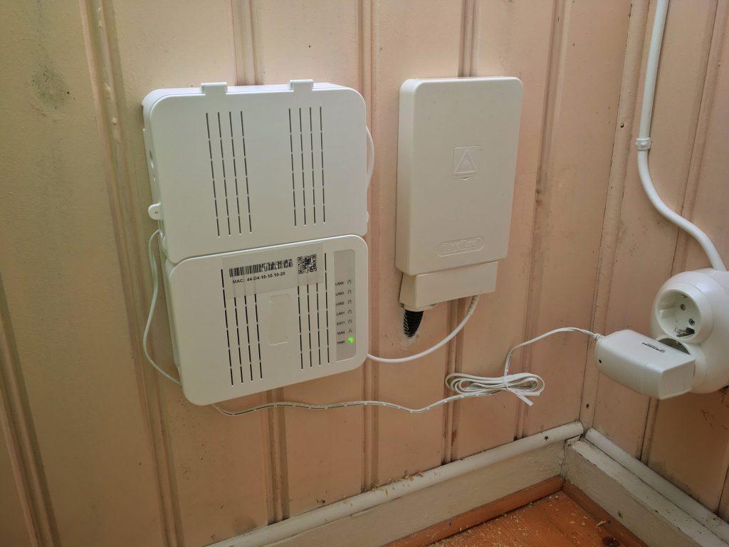 Exempel på installerad fiberutrustning