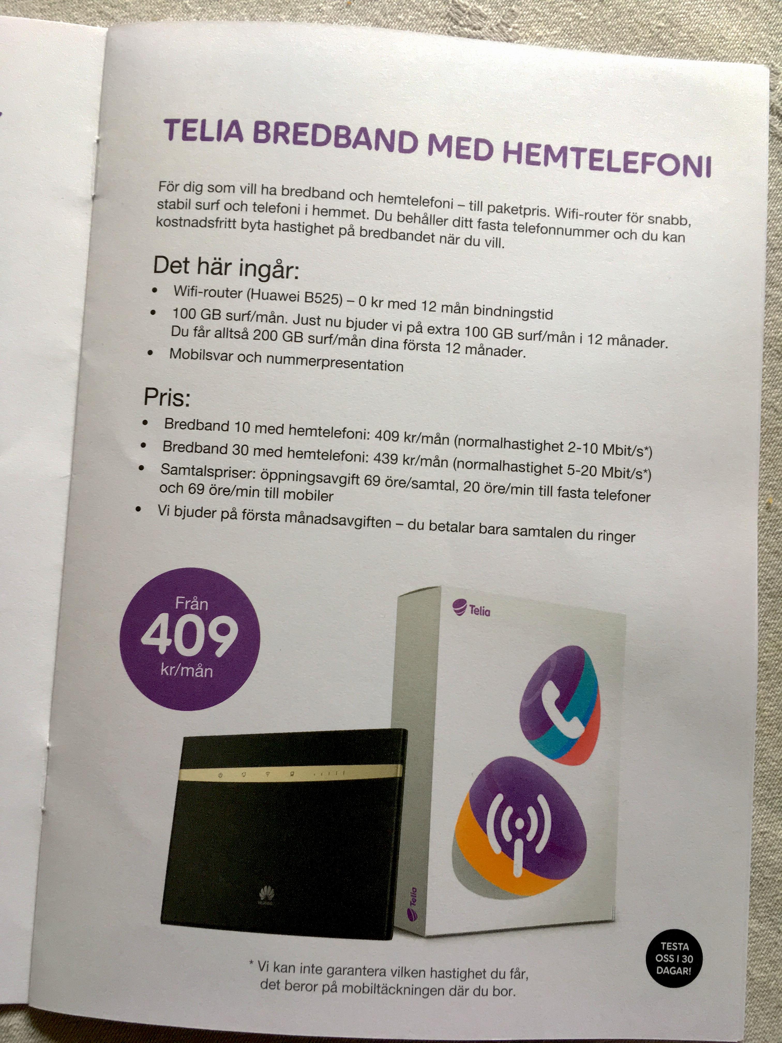 telia telefon bredband